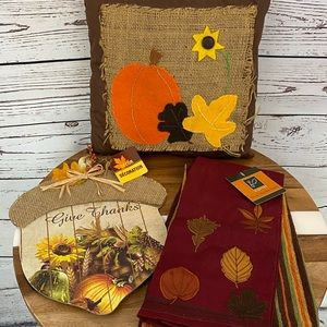 Fall Thanksgiving Decor, Pillow, and Tea Towels